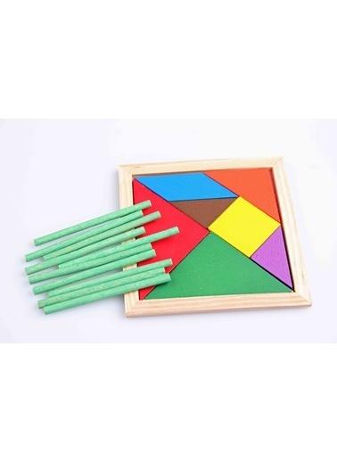 Learning Toys Ahşap 10'lu Sayı Çubuğu ve Tangram Seti Renkli